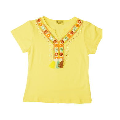 GIRL'S S/S TEE-YELLOW-SSSS20KG-2201 - Export Mall Online Store Sale