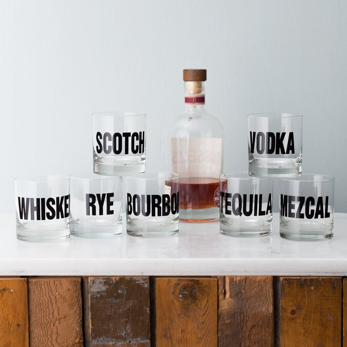 Black Cocktail Hour Typography Glassware