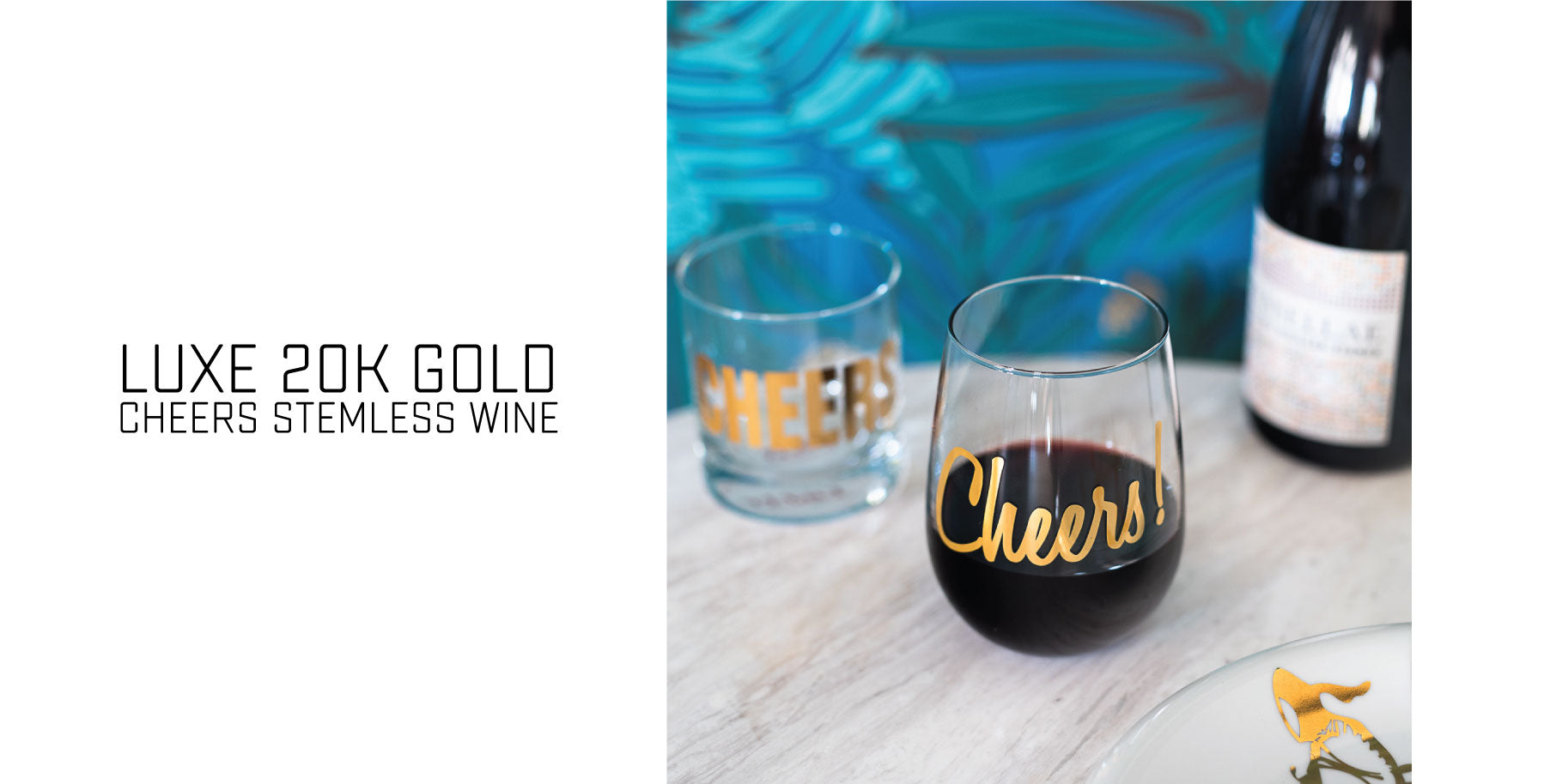 Luxe 20K gold stemless wine glasses