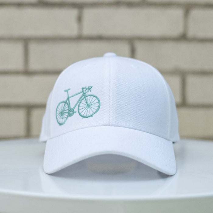 Bicycle Wool Blend Snapback Cap, White and Seafoam