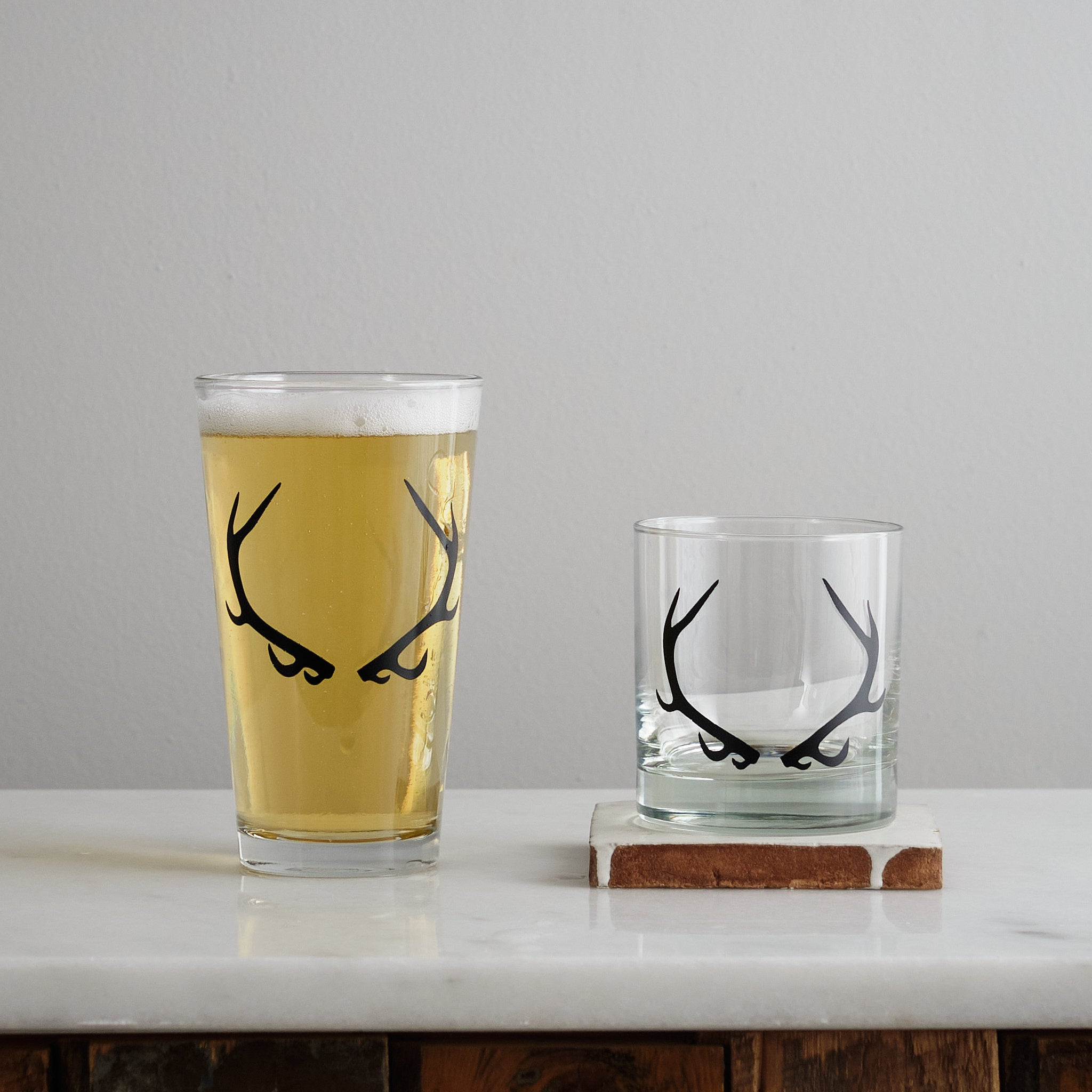 antler screen printed glassware rocks pint glass matte black