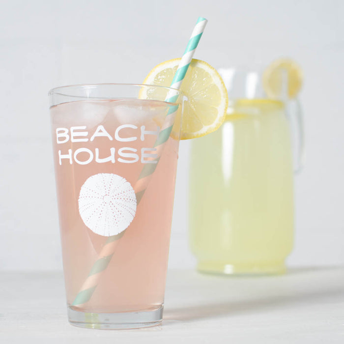 Beach House 16 oz. white sea urchin pint glass