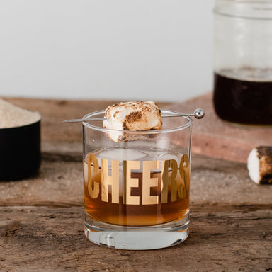 Toasted Marshmallow cocktail in 20K Gold Cheers rocks glass