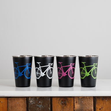 Bicycle Black Stainless Steel Metal Pint Tumbler
