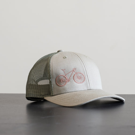 Mountain Bike Mesh Hat- Brown on Olive