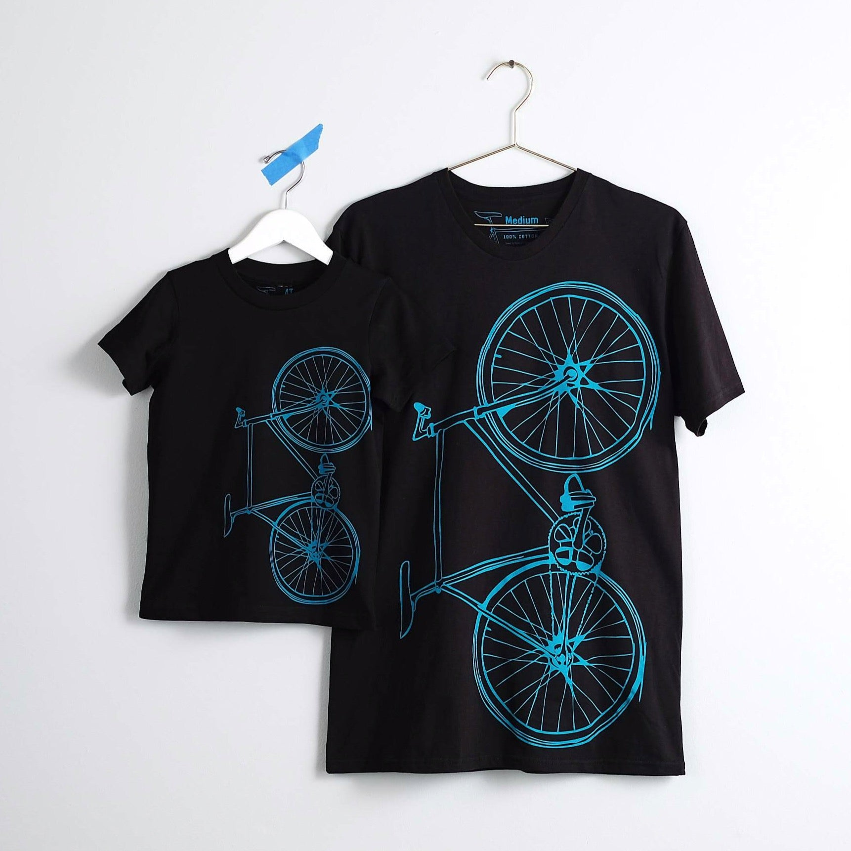 fixie bike graphic tee, father son matching teal and black cotton t-shirt