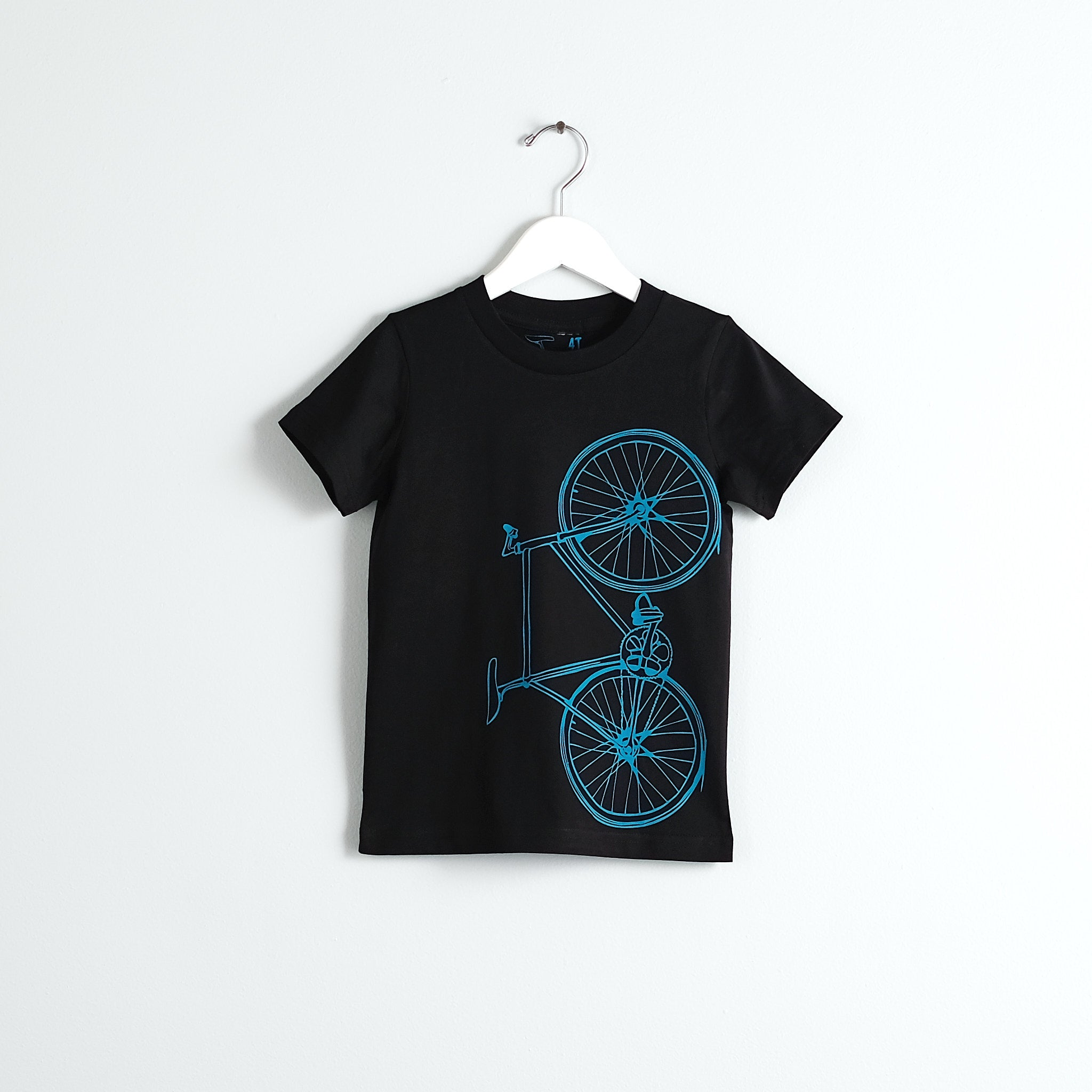Like Father, Like Son Fixie T-Shirt Set, Bright Teal on Black Cotton Tee