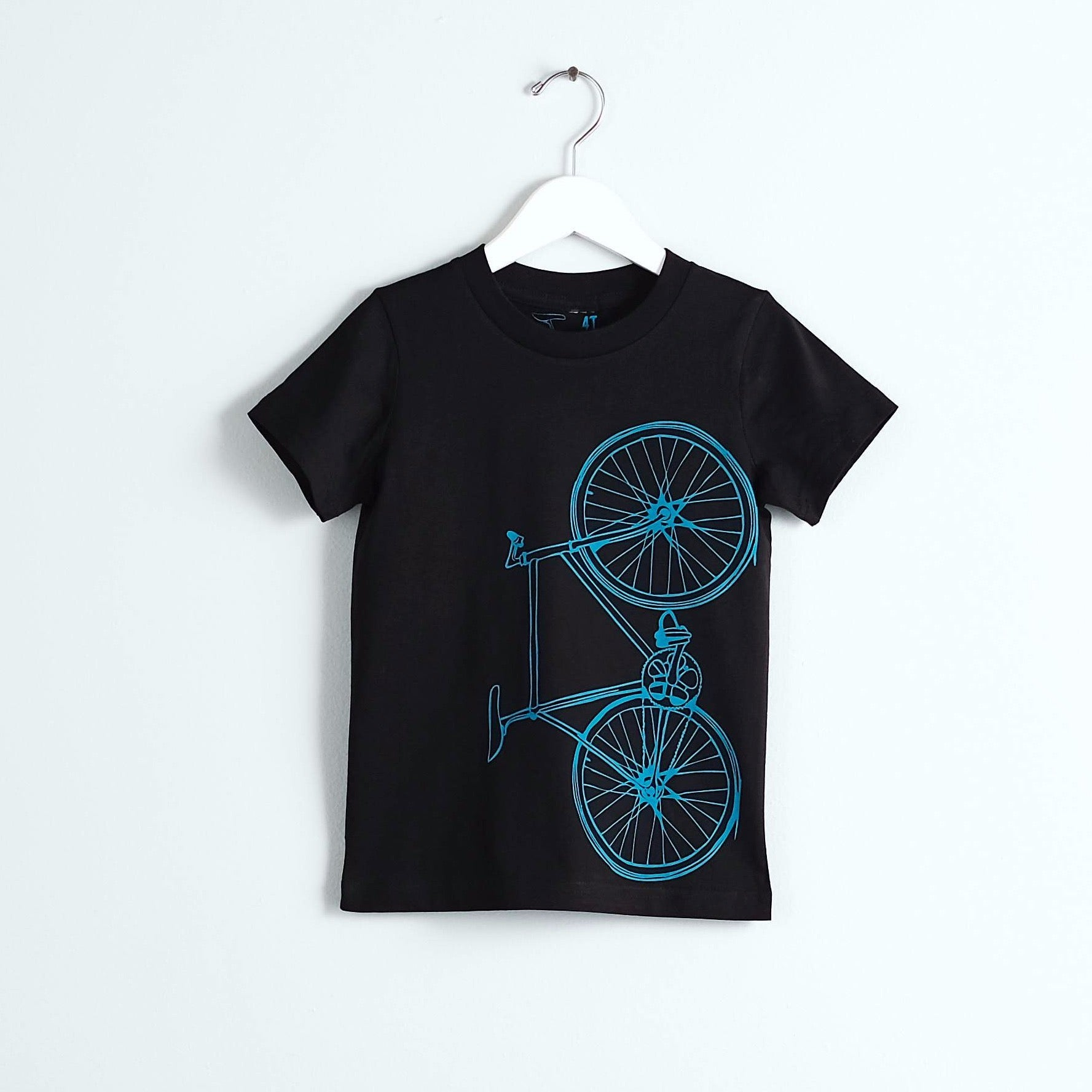 kids bicycle graphic tee teal bike on black cotton t-shirt screen printed
