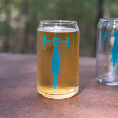 bicycle can glass tumbler front view teal bike
