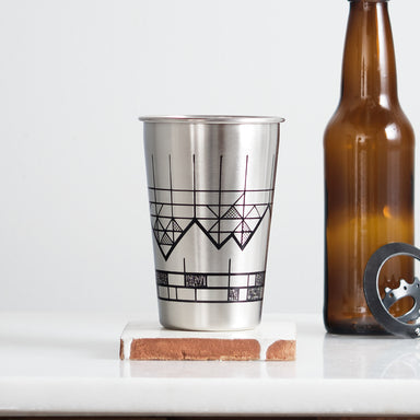 Geometric Mountain Stainless Steel Pint