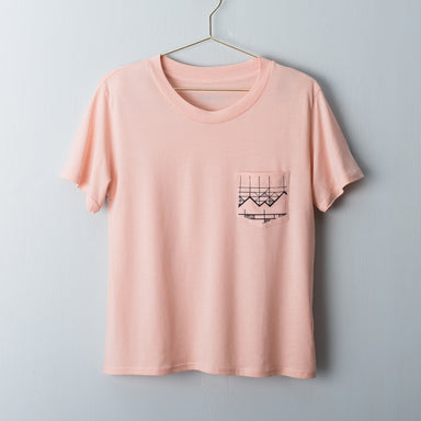 Rose pink square t-shirt with hand drawn geometric mountains screen printed on the pocket