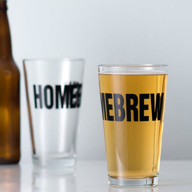 Homebrew 16 oz. pint glass filled with beer