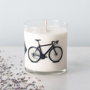 Hand poured 100% natural soy wax bicycle candle