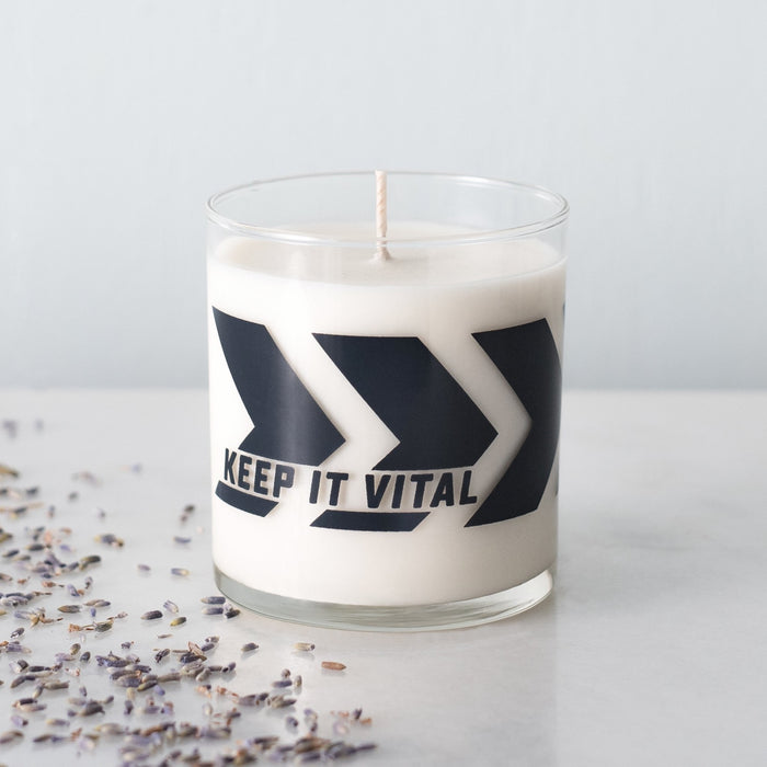 Chevron print soy wax candle