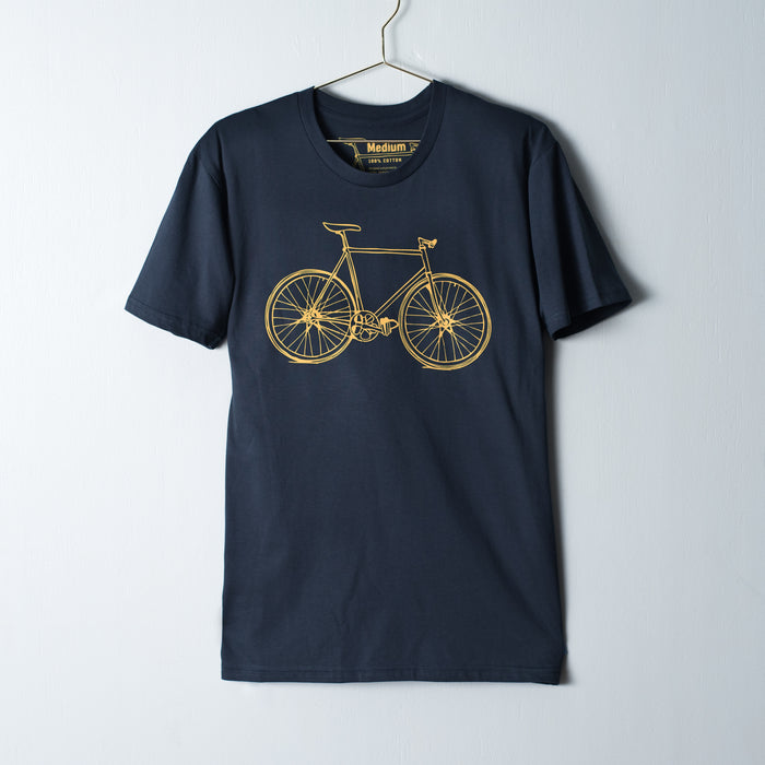Mens indigo t-shirt screen printed with a dark cheddar road bicycle