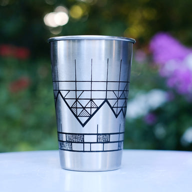 Stainless steel pint glass geometric mountain