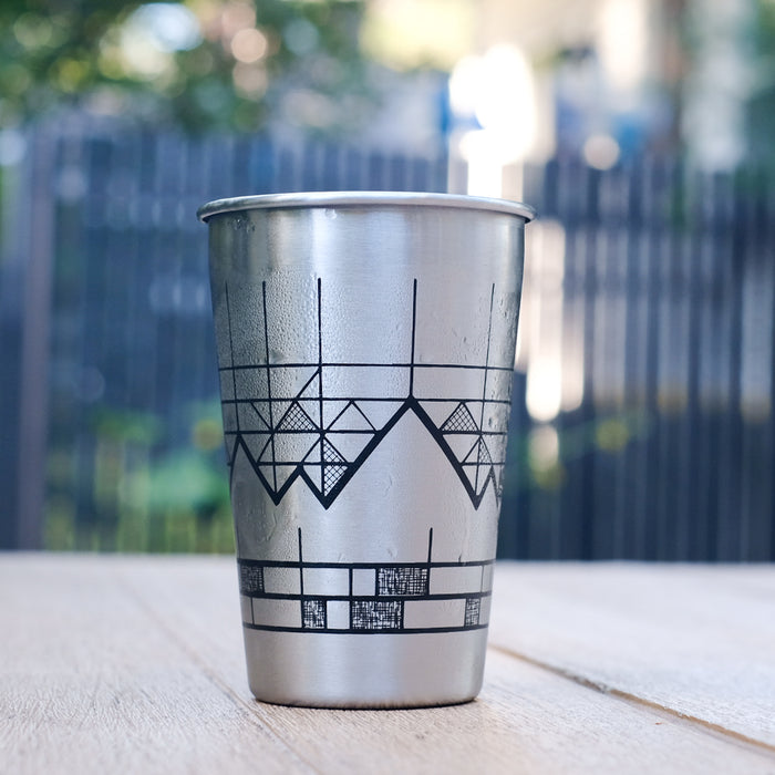 Screen printed stainless steel pint
