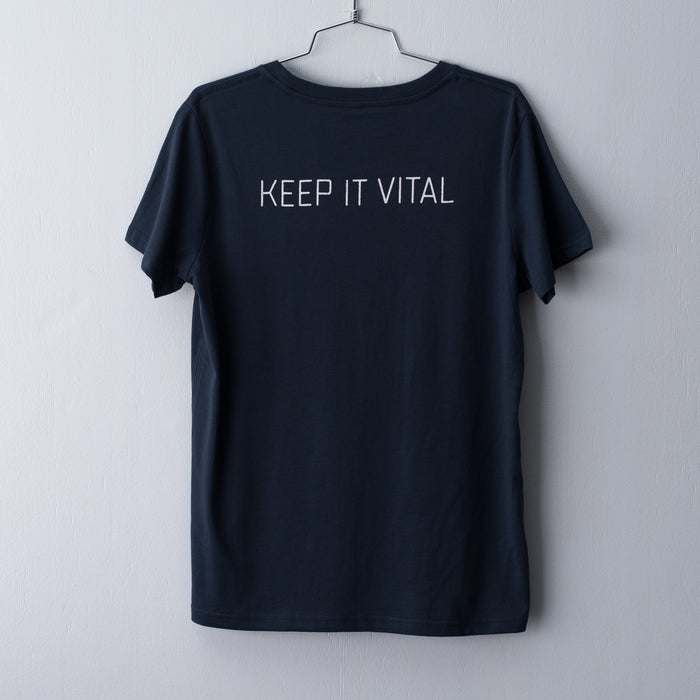 Indigo t-shirt screen printed with Vital Industries tag line - Keep It Vital