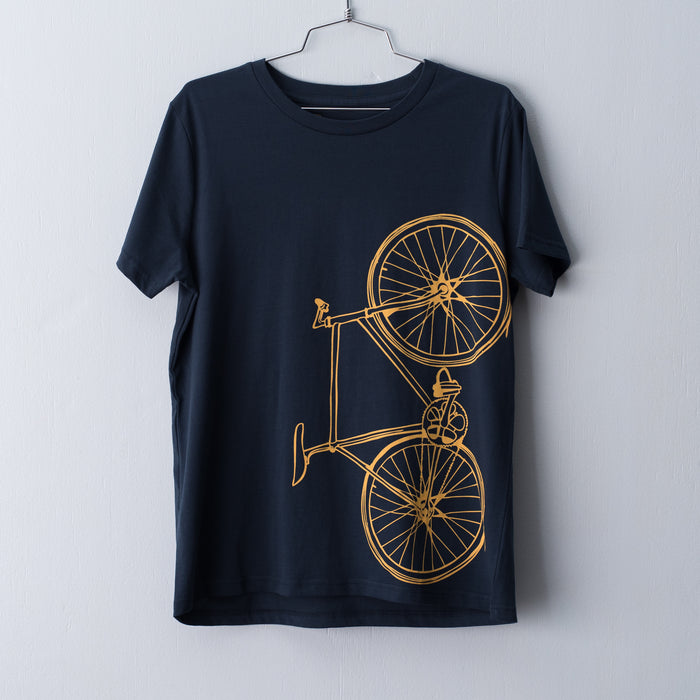 Indigo women's t-shirt screen printed with a mustard fixed gear bicycle