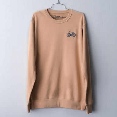 Tan camel pullover sweatshirt embroidered with a navy road bicycle on the left chest