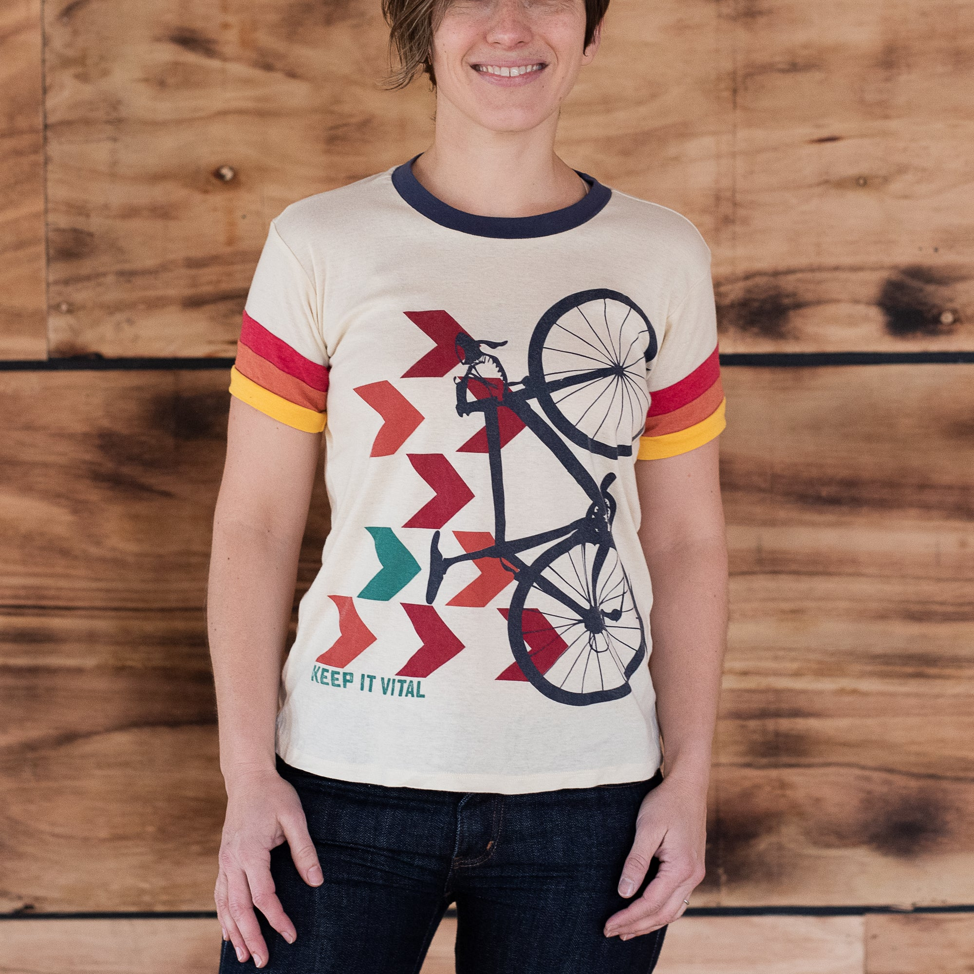 Multi-color chevron print on Camp Collection t-shirt