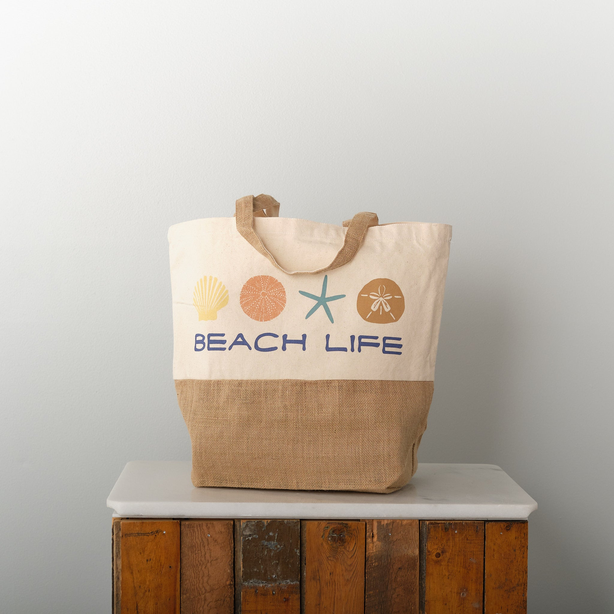 Beach Life, recycled cotton and jute beach tote bag