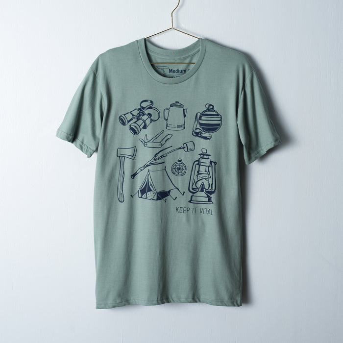 Camping tools screen printed on a sea green t-shirt in navy blue