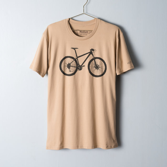 Dark brown mountain bike screen printed on a medium camel t-shirt
