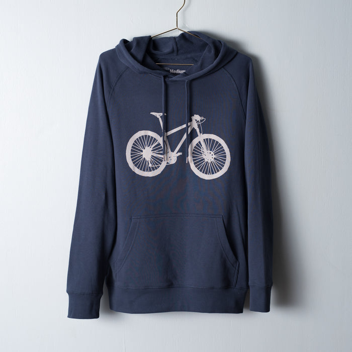 Heavy-weight indigo sweatshirt screen printed with a Stone mountain bike