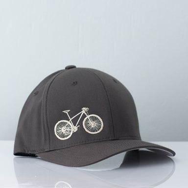 Grey flex fit hat embroidered with a cream colored mountain bicycle