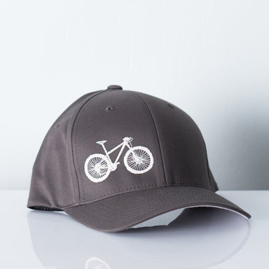 Grey hat embroidered with a fat tire bicycle
