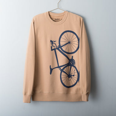 Camel pullover sweatshirt screen printed with a navy blue road bicycle