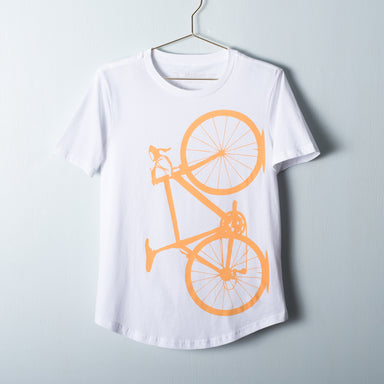 Mustard road bicycle screen printed on a drop relaxed fit white t-shirt