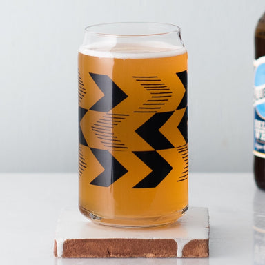 Chevron can glass filled with Blue Moon beer