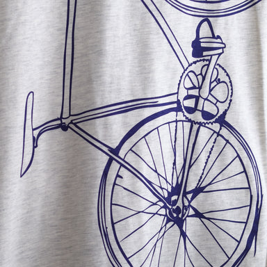 close up women's bike bicycle screen printed graphic tee oatmeal t-shirt with purple fixed gear bike print
