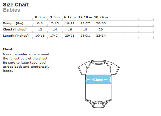 size chart for infant bodysuit