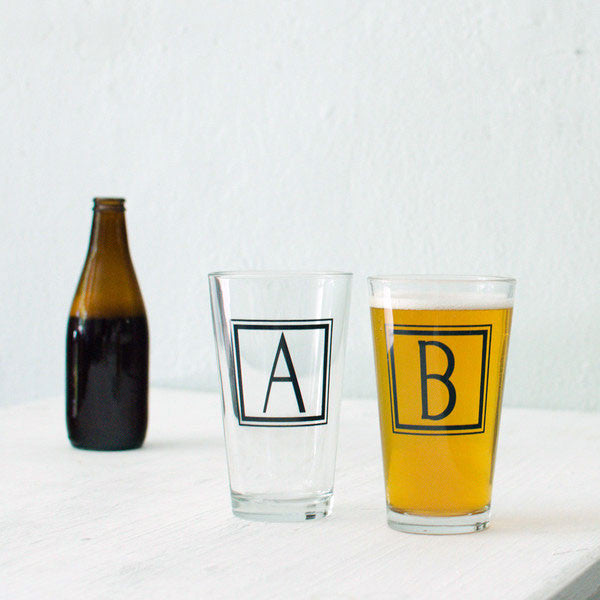 SALE Monogram Glasses - Square, Single Letter