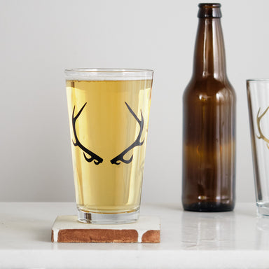 antler pint glass matte black screen print tile coaster