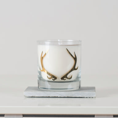 Antler soy candle gold screen print woodland decor all natural vital industries