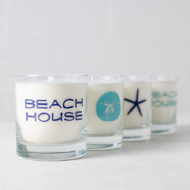 Beach House Soy Candle reusable sea star sand dollar