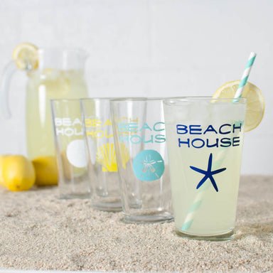 Beach House glassware set including a star fish, sand dollar, sea urchin and scallop