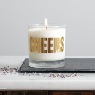 candle hand poured mirror gold cheers screen print