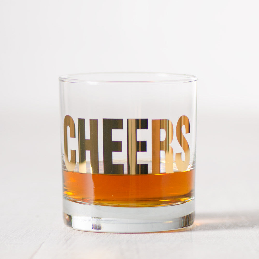 GOLD Cheers Rocks Glasses - Vital Industries