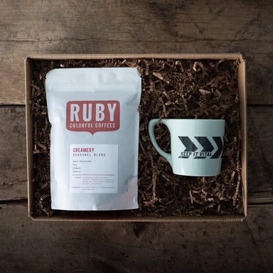 Ruby Roasters Creamery blend coffee and Chevron mug in a holiday gift set