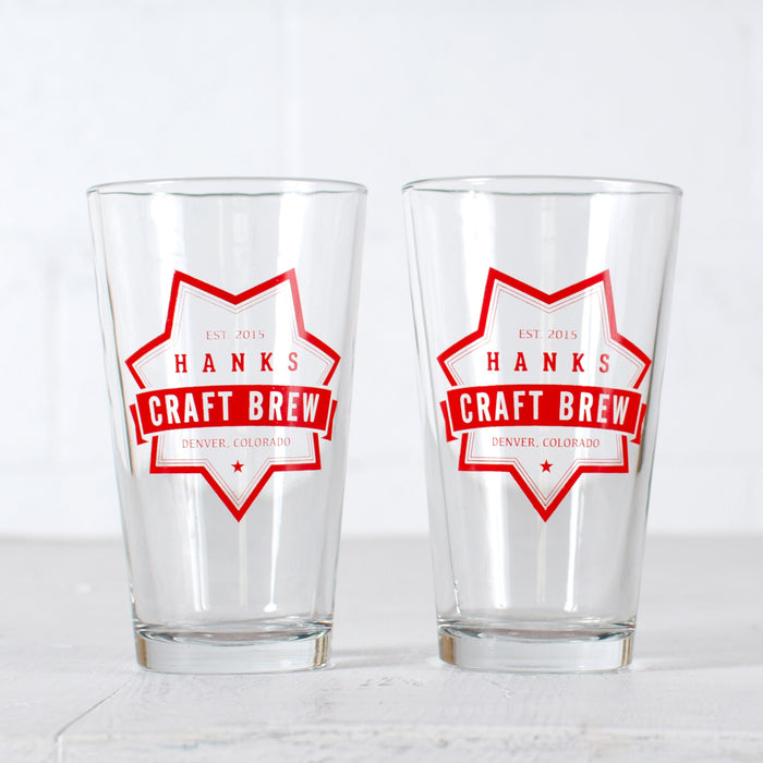 Customized craft brew 16 oz. pint glass set