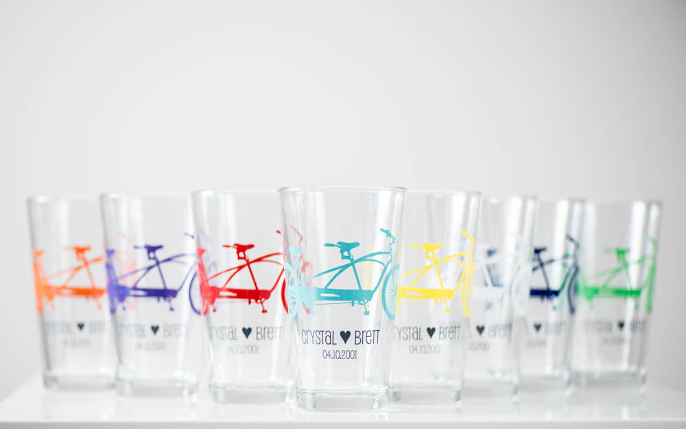Personalized Tandem Bike Pint Glasses