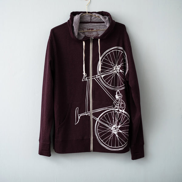 bicycle fixed gear hooded sweatshirt bike zip hoodie thumb holes