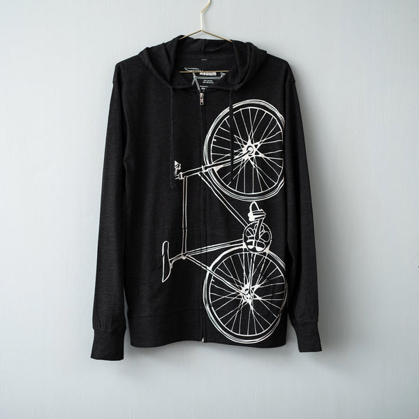 fixie bicycle hoodie screen printed fixed gear bike on black hooded sweatshirt