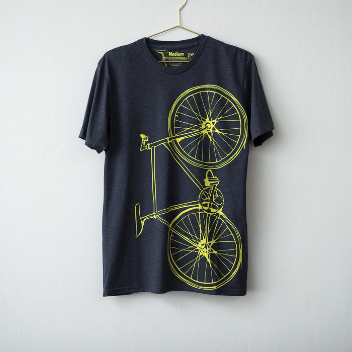Men's Tri-Blend Fixie Tee, Citron on Navy - Vital Industries