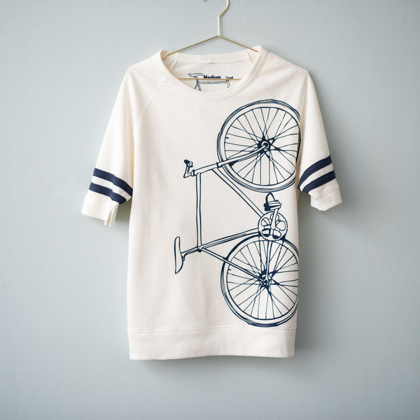 fixed gear bicycle sweatshirt short sleeve sport stripe pullover french terry